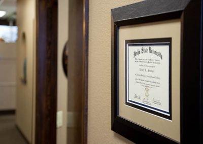 Brumbach diploma from Idaho State University